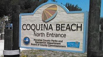Coquina Beach Sign